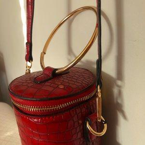 EMPERIA LA Vegan Red Faux Leather Shoulder Bag
